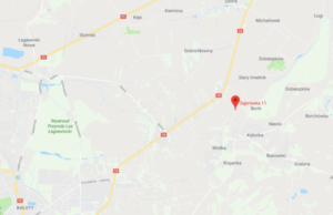 mapa Dąbrówka 11 koło Łodzi